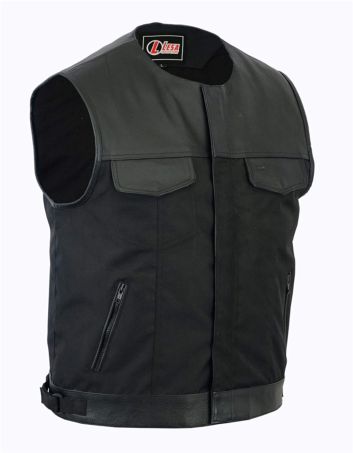 COLLARLESS CORDURA BIKER WAISTCOAT/VEST BLACK REAL LEATHER TRIM[5XL] Lesa Collection