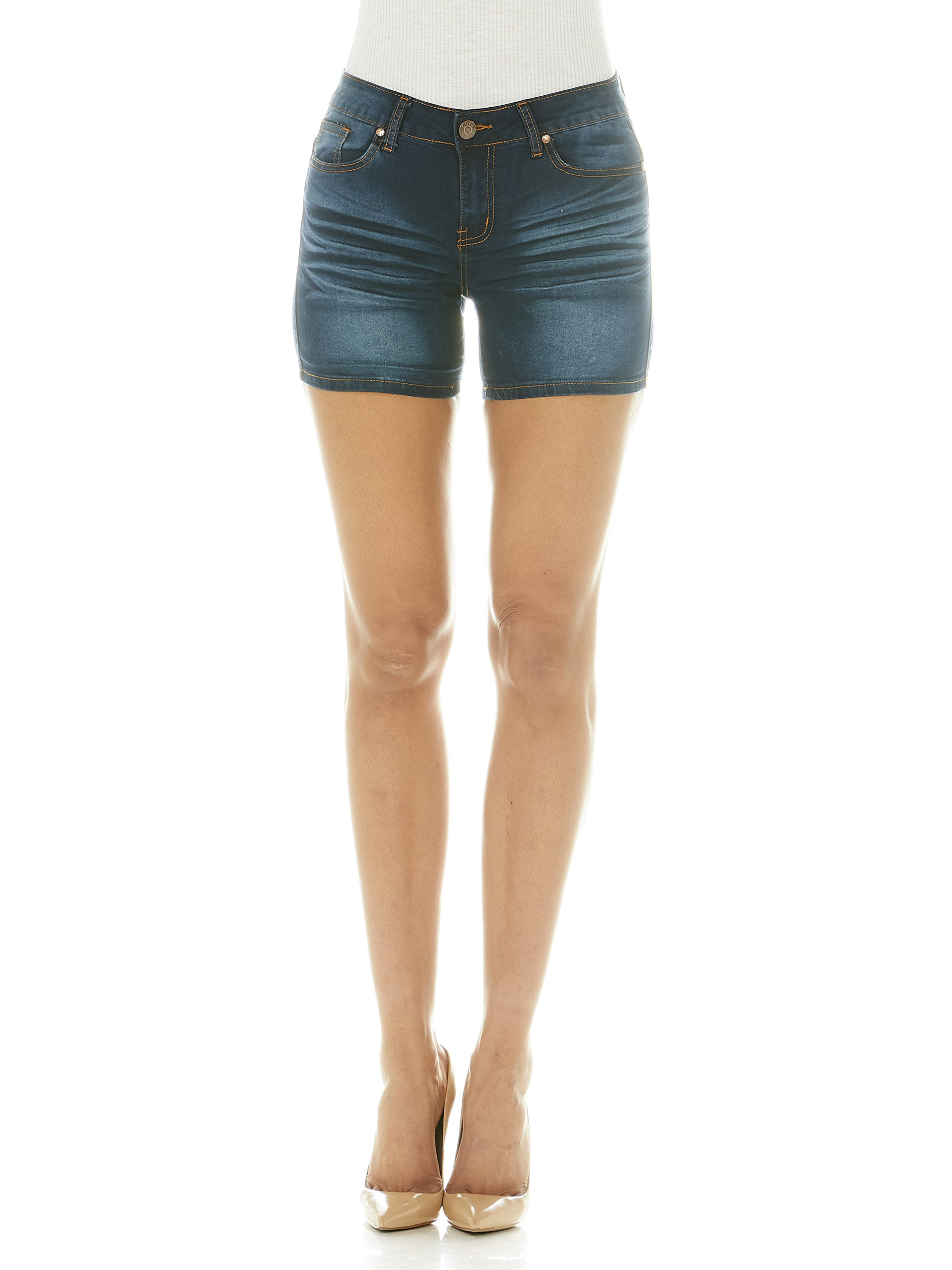 Cover Girl Jeans Women's Denim Shorts Mid Rise Blue Washes with Stretch Size 9 Electric Blue (3.5'' Inseam)