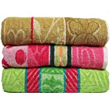 Casa Basics 400 GSM Set Of 3 Jacquard Large Bath Towels 68 X 137 cm- Multicolor