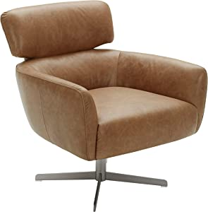 "Rivet Adrienne Swivel-Base Contemporary Living-Room Chair, 29""W, Leather, Cognac"