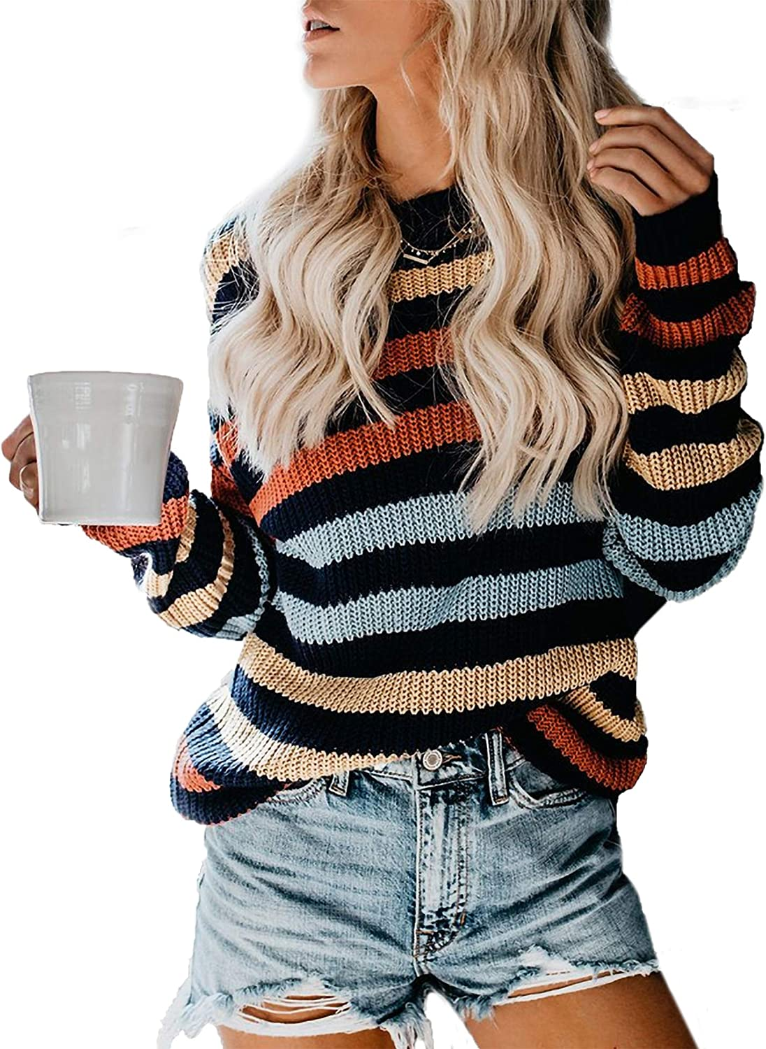 Relipop Women's Knitwear Pullover Crewneck Drop Shoulder Rainbow Color Block Stripe Lightweight Cable Knit Jumper Sweater