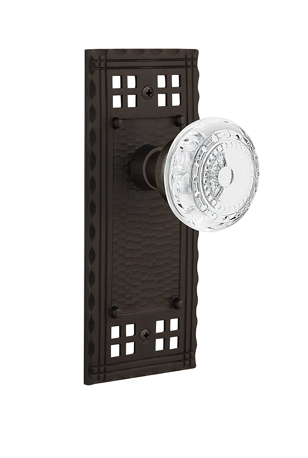2.75 Oil-Rubbed Bronze Nostalgic Warehouse 752854 Craftsman Plate with Crystal Meadows Knob Privacy Backset Size