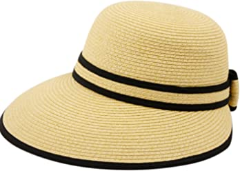 Straw Packable Sun Hat with Black Sash- Wide Front Brim and Smaller Back 332a34d47005