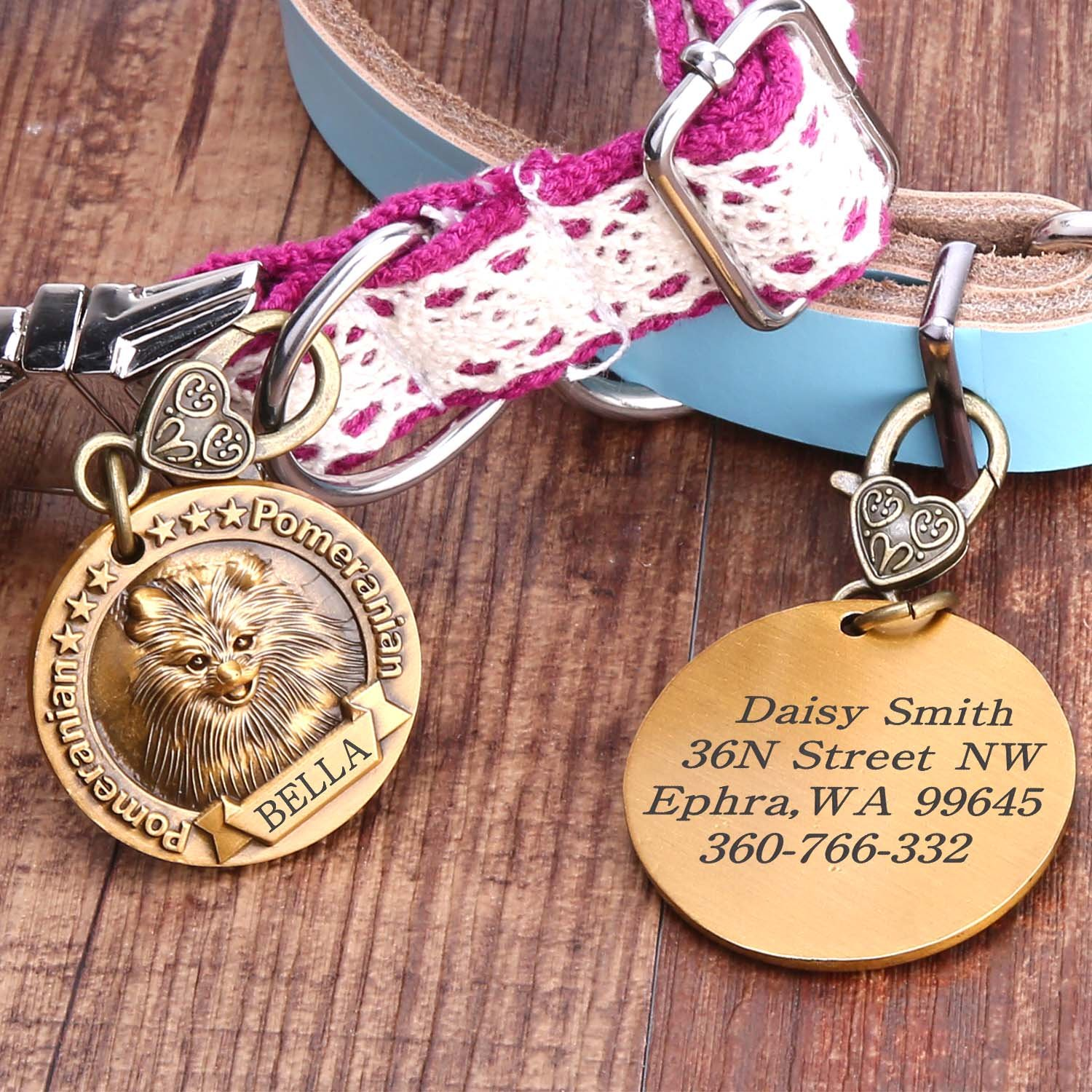 Dog Tags Personalized, Custom Pet ID Tags for Dogs Engraved Copper Badge Anti-Lost with Heart-shaped Buckle (German Shepherd)