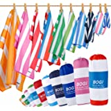 BOGI Microfiber Beach & Travel Sports Towel with Free Hand Towel-(Size:L,XL)-Quick Dry Lightweight Ultra Absorbent -Perfect Bath Beach Swim Camping Yoga Towel- Pouch+Carabiner