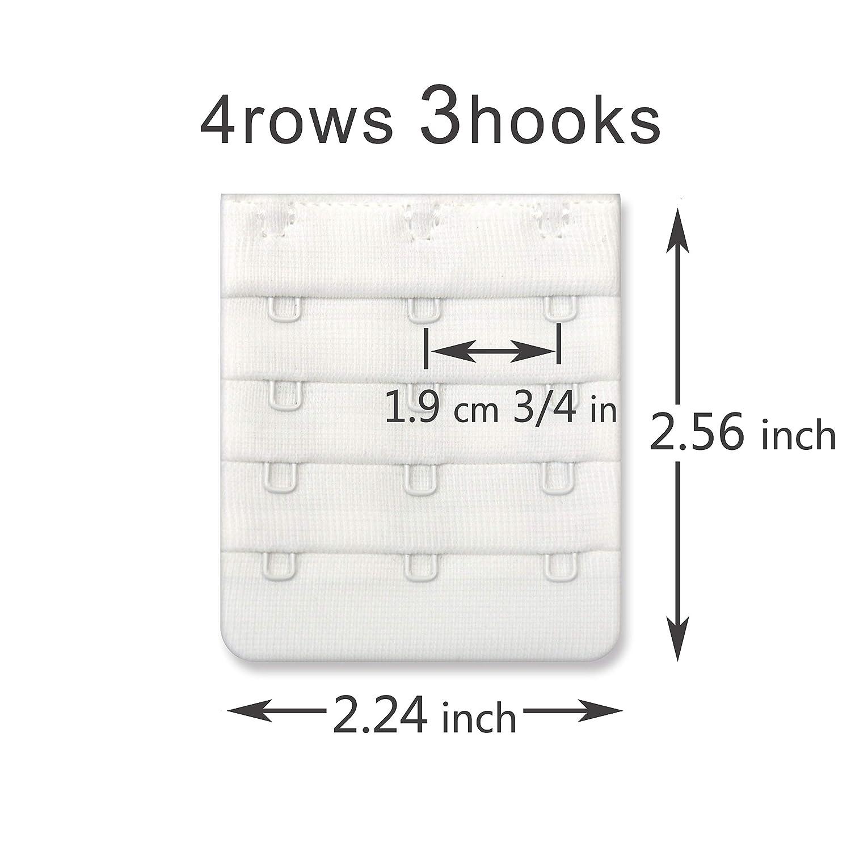 Women Bra Strap Extensions Comfort Sturdy Bra Extender 3 Hook 3//4 inch Spacing 8003-4R3H8W
