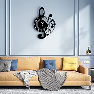 YISILE Modern Music Wall Decor Clocks ,Music Note Large Quartz Silent Pendulum Wall Clocks Battery Operated Non Ticking,Acrylic Wall Clocks for Living Room Bedroom Kitchen Decor