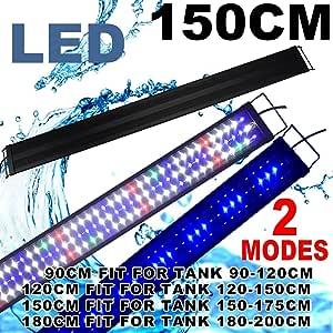 Aquarium Light Full Spectrum 48inch- 78inch LED Fish Tank Light Marine Freshwater Adjustable Aquarium Lighting Lamp (120-200cm) ((for 60''- 72'' Tank) Full Spectrum 150cm)