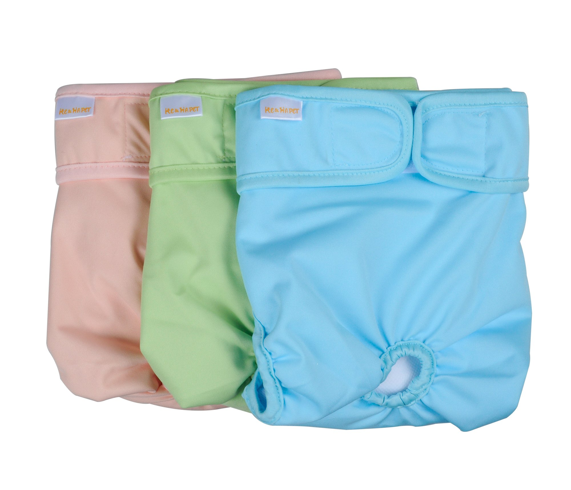 """Female Dog Diapers Washable He&Ha Pet Doggie Diaper Reusable Small Padded Cloth Sanitary Panties Set of 3 for Waist 13"""" to 16"""" Pastel Colors"""