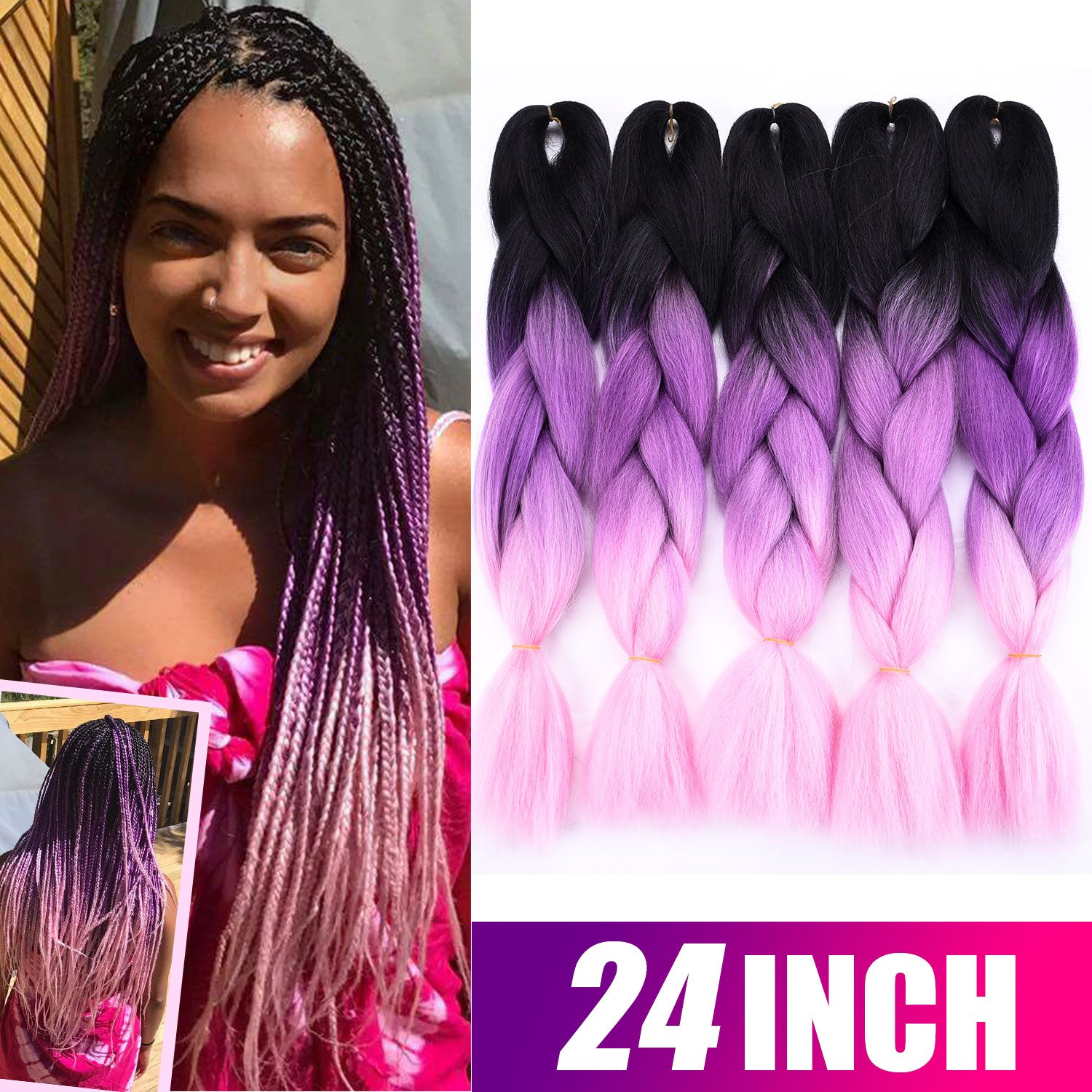 Amazon Silike 24 Jumbo Braid Ombre 5 Pieces Kanekalon