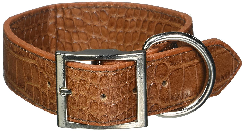 OmniPet Faux Crocodile Signature Leather Pet Collar, Mocha, 1-1 2 by 22