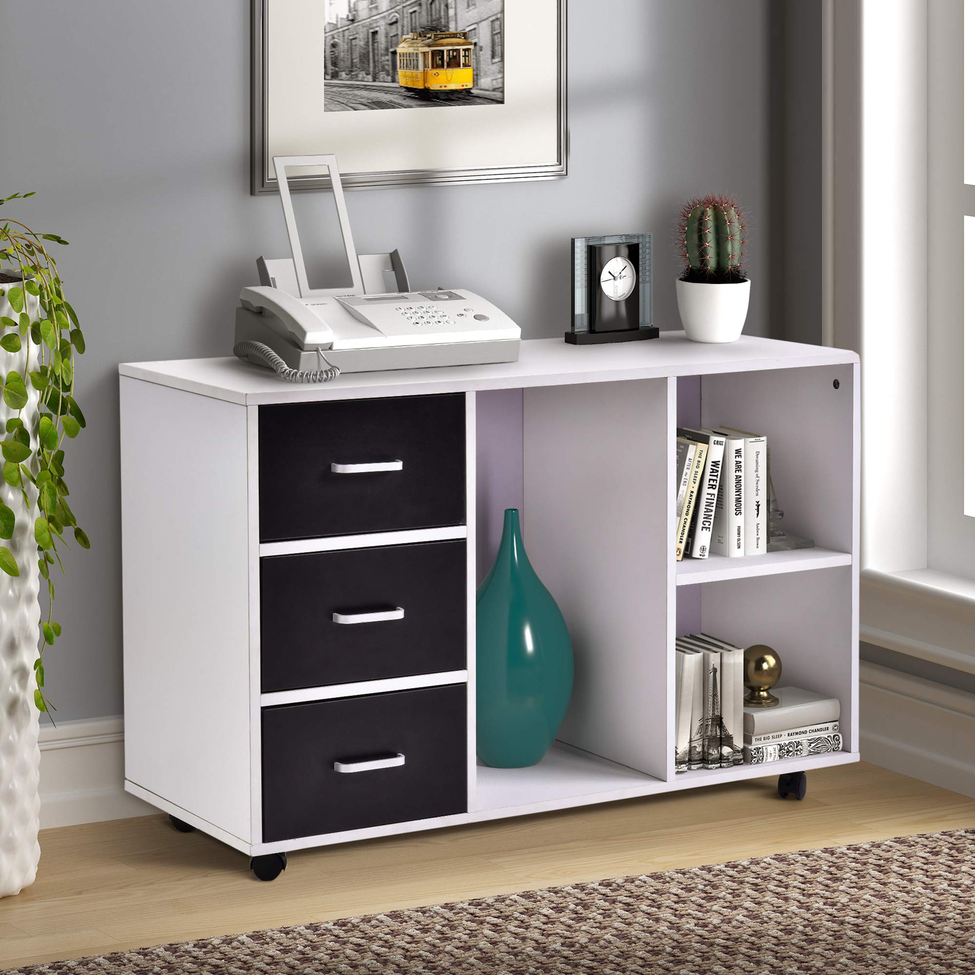 Mobile Lateral File Cabinet with Open Storage Shelves, 3 Drawers Office Filing Cabinet on Wheels, White