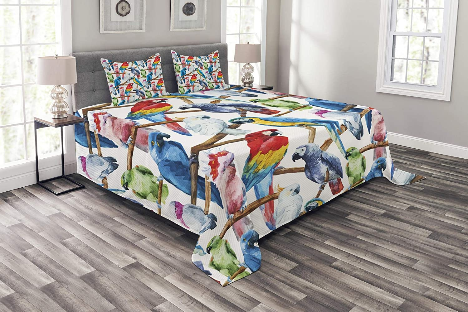 Lunarable Parrots Bedspread, Colorful Parrots on Tree Branches Exotic Jungle Theme Watercolor Painting Effect, Decorative Quilted 3 Piece Coverlet Set with 2 Pillow Shams, King Size, Cobalt Red