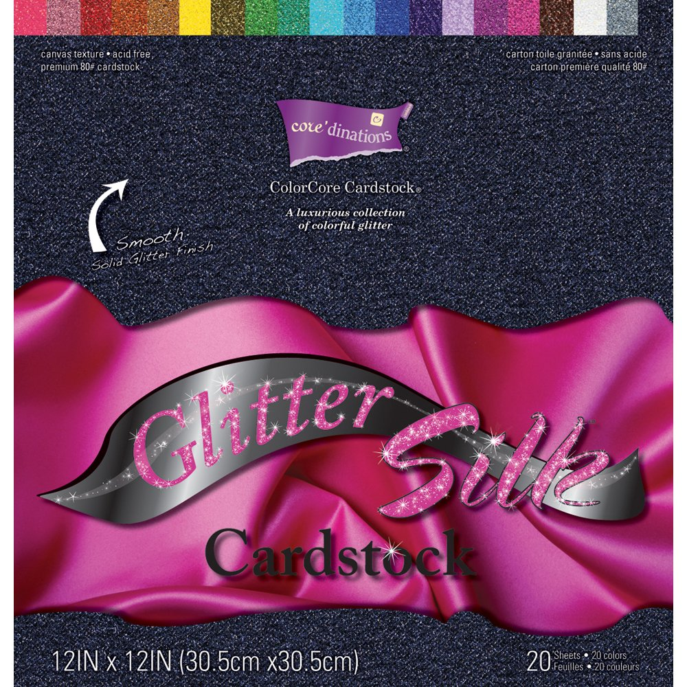 Darice 12-Inch by 12-Inch Core Dinations Glitter Silk Cardstock Assortment, 20 Sheet Per Package GX-1700-01