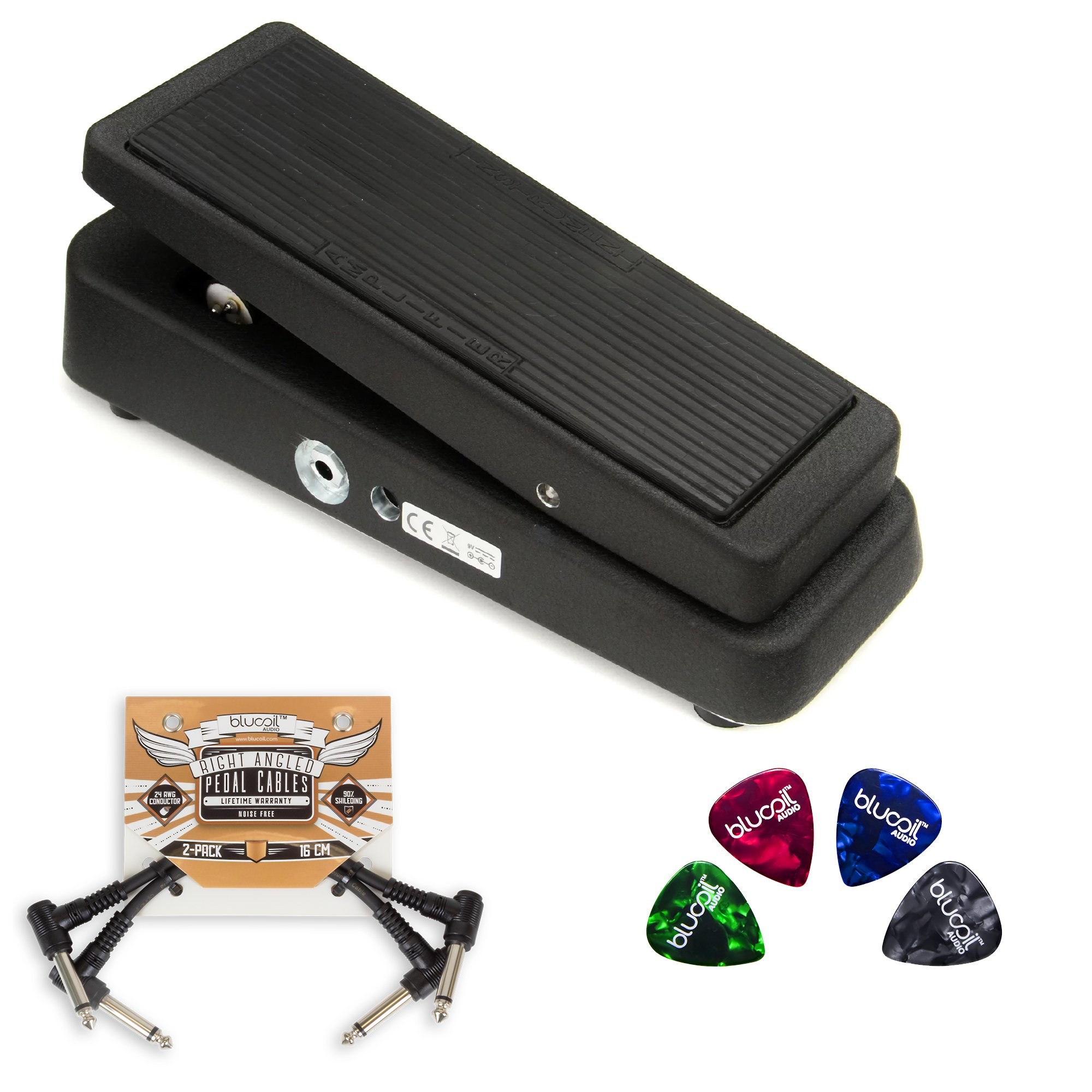 Jim Dunlop GCB95 Cry Baby Standard Wah Pedal BUNDLED WITH 2-Pack of Blucoil Pedal Patch Cables AND 4 Celluloid Guitar Picks by blucoil