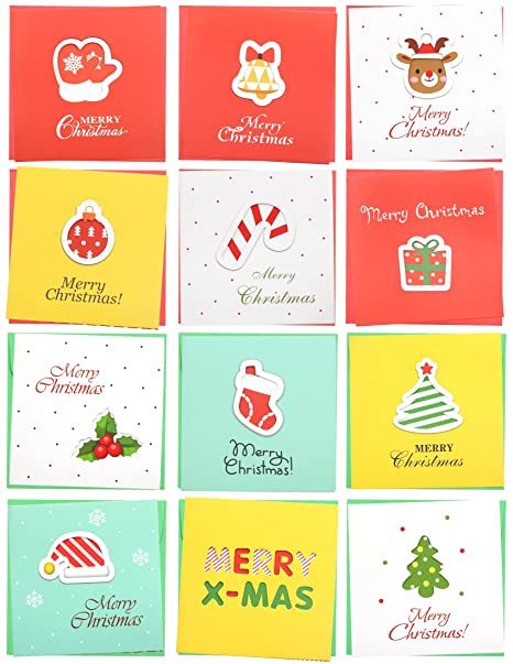 24 Pack Mini Christmas Greeting Cards Envelopes Cute Stweety Small Size 3 3 X 3 3 Merry Christmas Greeting Cards Festival Color Pattren 4