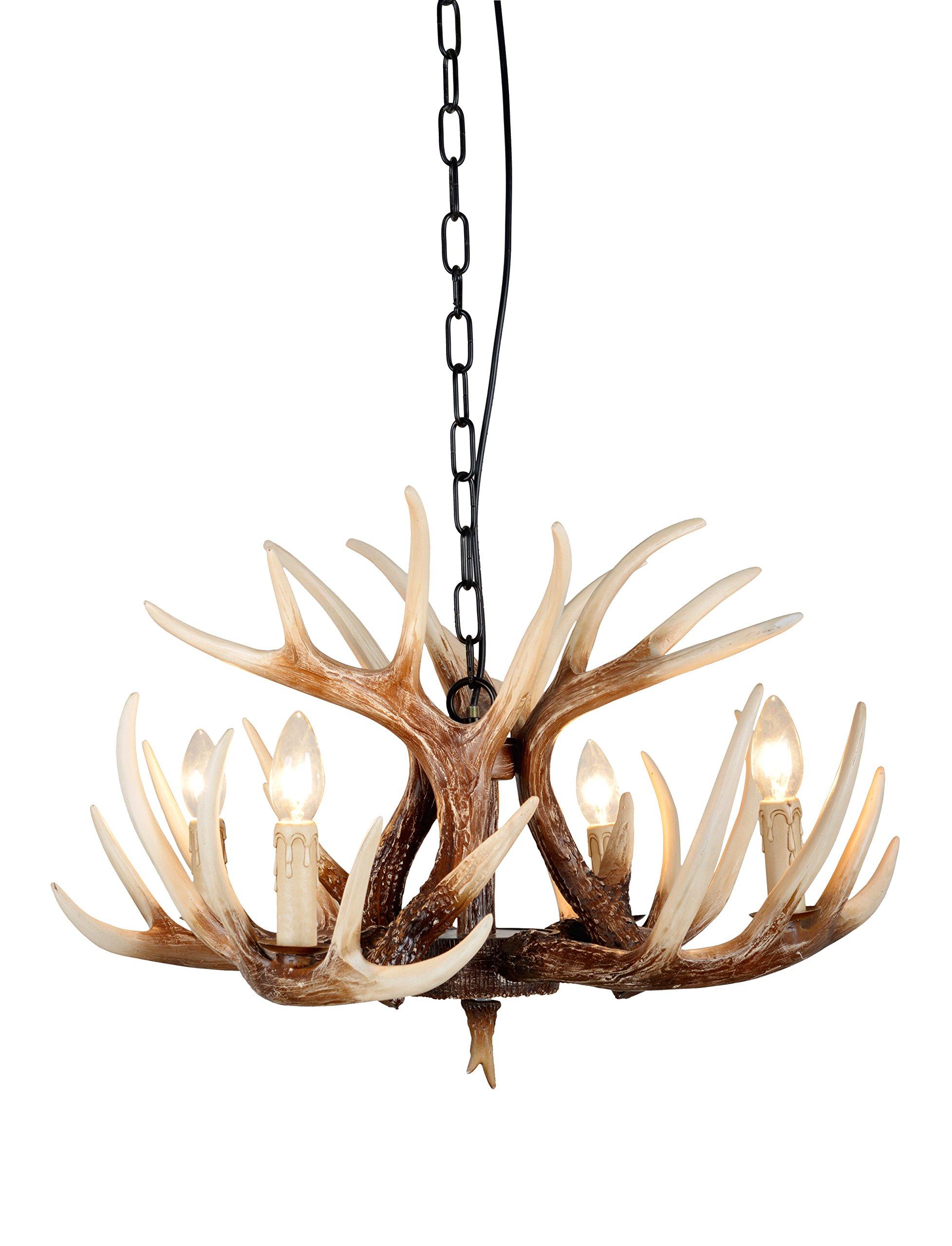 EFFORTINC Vintage Style Resin Deer Horn Antler Chandeliers,4 Lights(Bulbs Not Included) by EFFORTINC