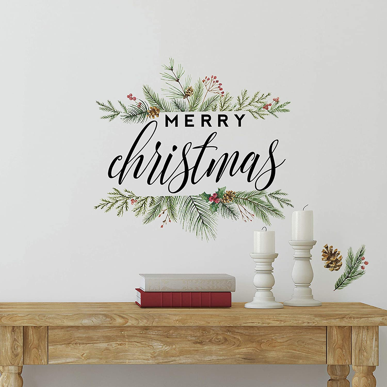 RoomMates Merry Christmas Wreath Peel And Stick Wall Decals, Reusable Christmas Decorations