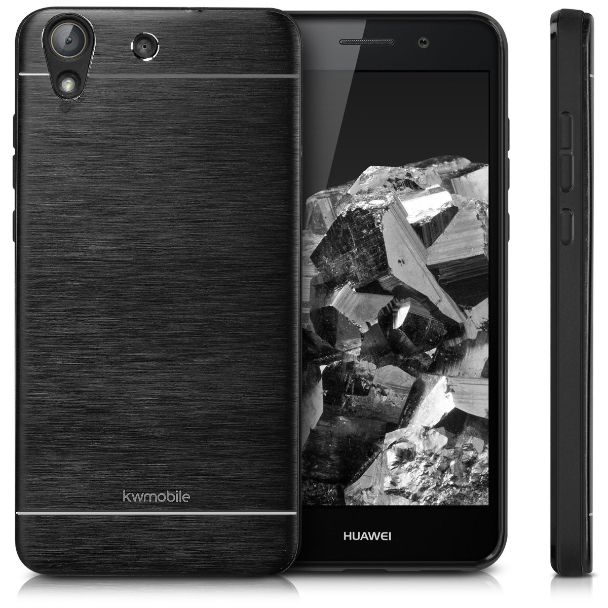 kwmobile Case for Huawei Y6 II - Durable Shockproof Aluminum Protective Smartphone Back Cover - Black