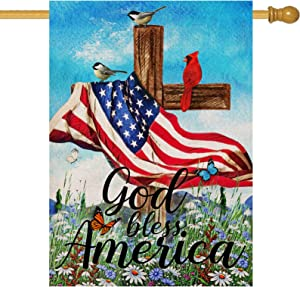 Covido God Bless America July 4th House Flag, Home Decorative Garden Yard Patriotic Decor Sign Bird Butterfly, Summer Fall USA Outside Decorations Autumn Seasonal Outdoor Large Flag Double Sided 28x40