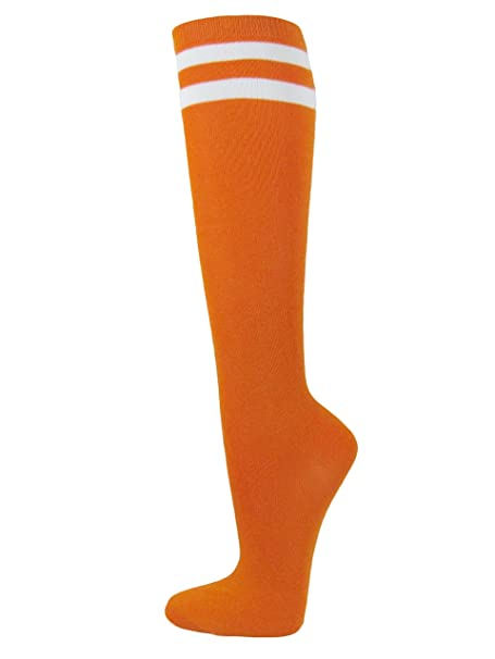 4ceb0f68e98 Amazon.com  COUVER Halloween Orange with 2 White Stripes Knee High Socks  Stocking