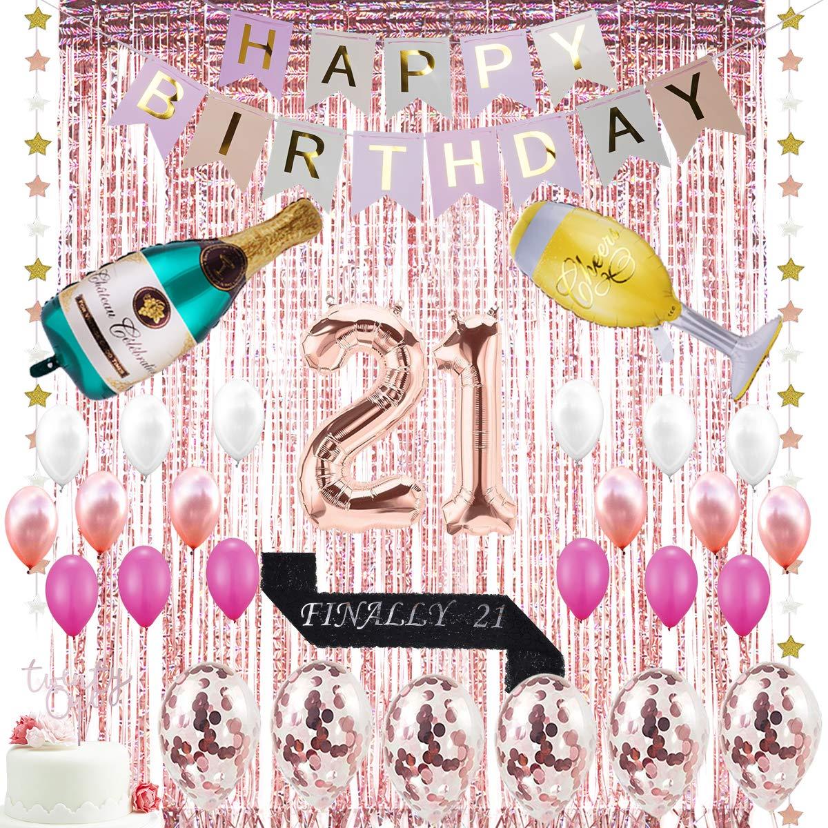 21歳の誕生日デコレーション - Happy Birthdayバナー 21番目のバルーン ホイルフリンジカーテン シャンパンバルーン 21個のケーキトッパー 最終的に21個のサテンバースデーサッシュ 紙吹雪バルーン 21種類の誕生日パーティーデコレーション用品 - ローズゴールド   B07NS5YD7M
