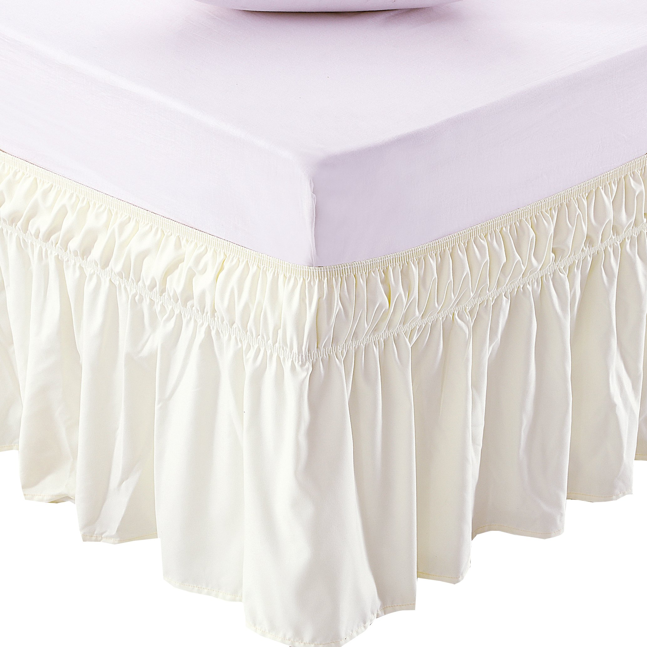 MEILA Three Fabric Sides Wrap Around Elastic Solid Bed Skirt, Easy On/Easy Off Dust Ruffled Bed Skirts 16 Inch Tailored Drop (Ivory Queen/King)