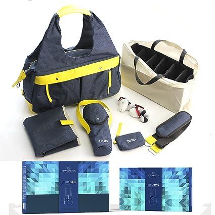 TOTO BAG - Azul Oscuro - Bolso pañalera de lujo con múltiples compartimientos, almohadilla para