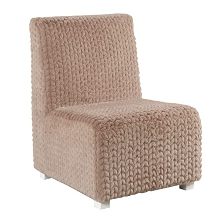 Outstanding Homepop K7763 B293 Kids Cushioned Slipper Chair Textured Pink Faux Fur Machost Co Dining Chair Design Ideas Machostcouk
