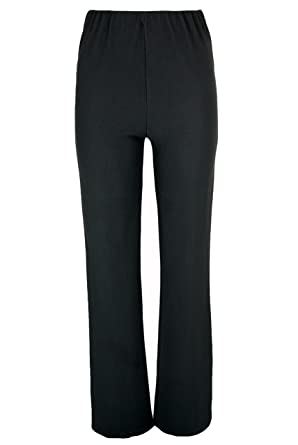 LADIES (2 PAIRS PACK) NURSE WORK CARER STRETCH ELASTICATED BOOTLEG TROUSERS  3 COLOURS (