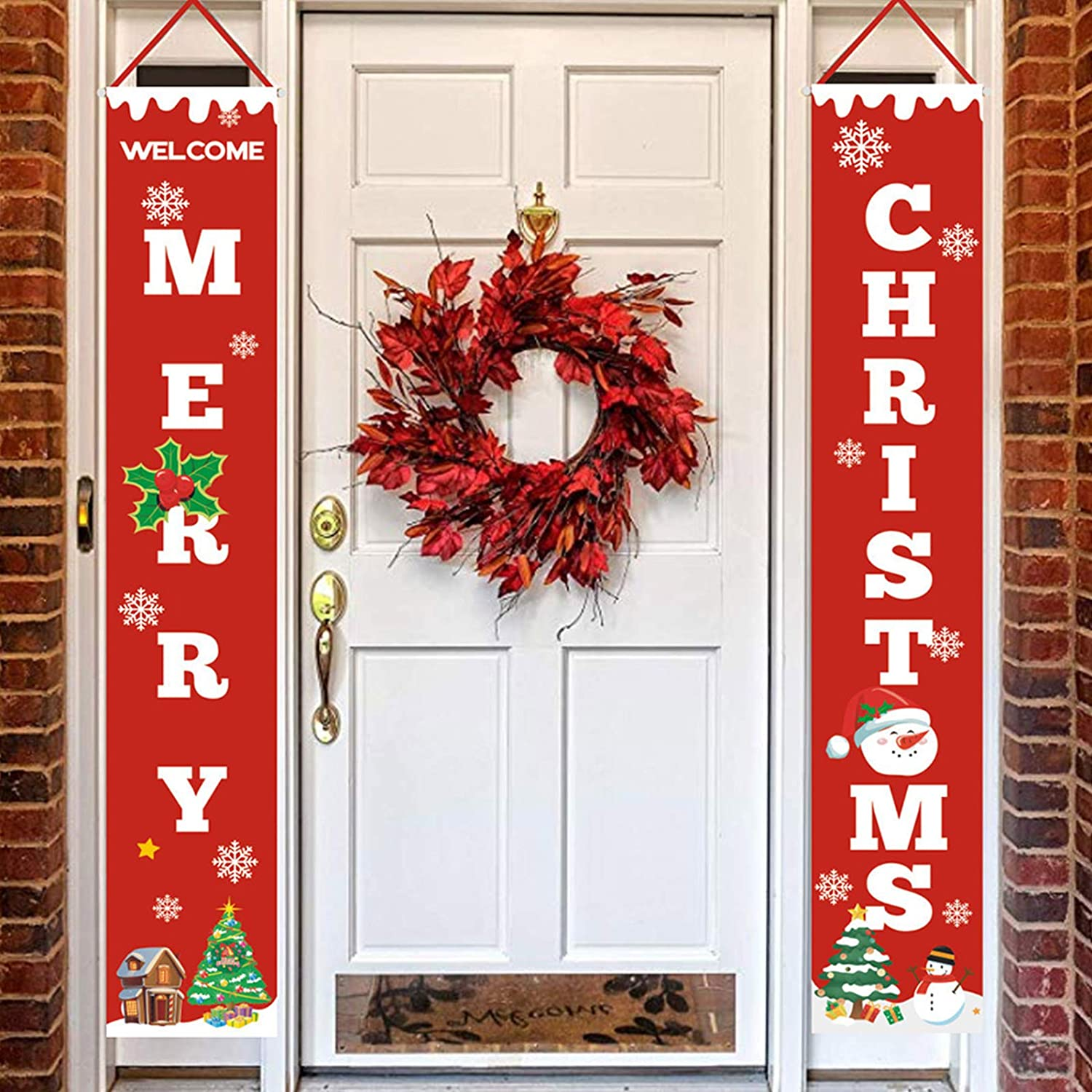 Merry Christmas Banners, Xmas Hanging Porch Signs Decorations Indoor Outdoor, New Year Party Porch Signs for Front Door Yard Home Decor Supplies,72 x 12 Inch (Merry Christmas)