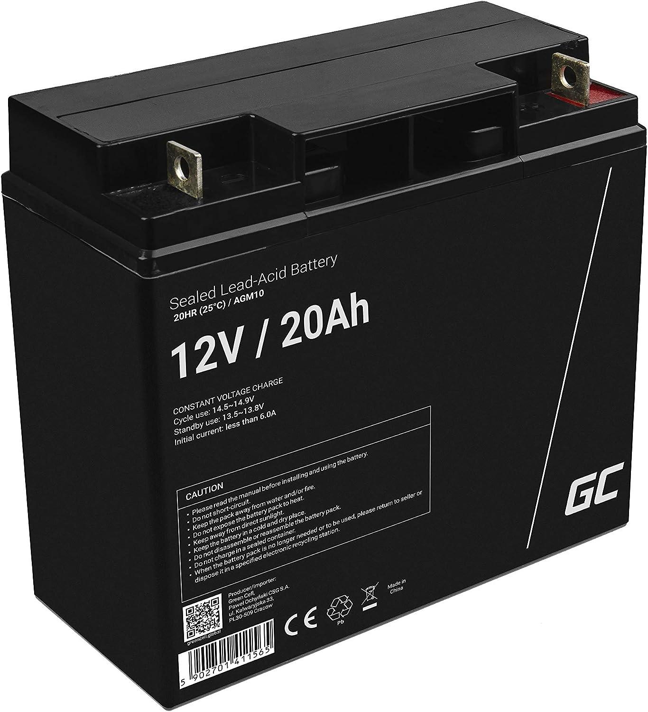 Green Cell Recambio de Batería Gel AGM 12V 20Ah Rechargeable Pila Sellada de Plomo ácido batería sin Mantenimiento Batería de Reemplazo para Moto eléctrica Silla de Ruedas Montacargas Carro de Golf