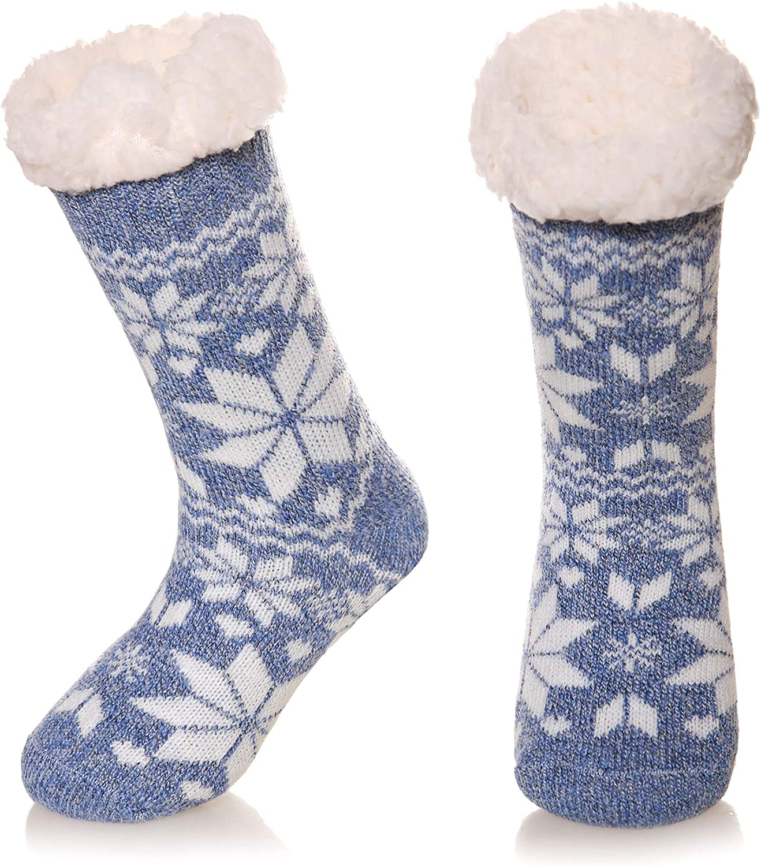 Kids Boys Girls Slipper Socks Winter Thermal Fuzzy Fleece Lined Warm Soft Thick Anti-Slip Children Home Floor Sleeping Socks
