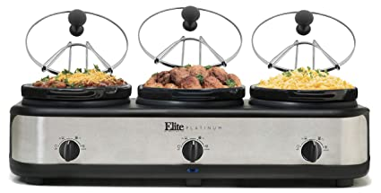 Elite Platinum EWMST-325 Triple Slow Cooker Buffet Server, Adjustable Temp  Dishwasher-Safe Oval Ceramic Pots, Lid Rests, 3 x 2 5Qt Capacity, Stainless
