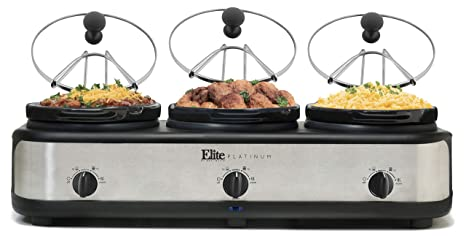 Amazon.com: Elite Platinum, MSTB-305, Triple Slow Cooker ...
