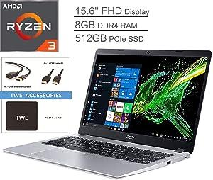"""Acer Aspire 5 15.6"""" FHD LED-Backlit Display Laptop, AMD Ryzen 3 3200U Up to 3.5GHz, 8GB DDR4, 512GB PCle SSD, 802.11ac, Bluetooth, HDMI, Backlit Keyboard, Webcam, Windows 10 S, TWE Accessory Bundle"""