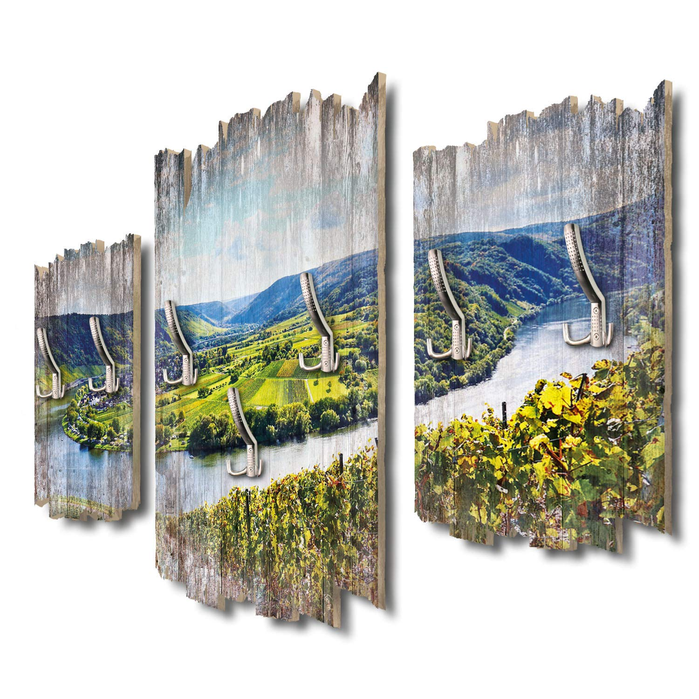 Kreative Feder Moselschleife und Weinberge Designer Wandgarderobe Flurgarderobe Wandpaneele 95 x 60 cm aus MDF-Holz DTGH025