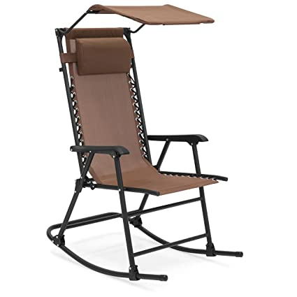 Exceptionnel Best Choice Products Foldable Zero Gravity Rocking Patio Chair W/Sunshade  Canopy   Brown