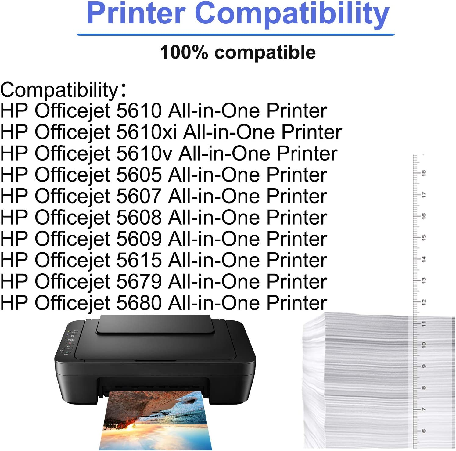 3 Black,2 Tri-Color Replacement Officejet 5605 5607 5608 5609 5610 5615 5679 5680 All-in-One Printer SuperInk 5 Pack Remanufactured Ink Cartridge Compatible for HP C6656AN C9352CE 56 22 22XL