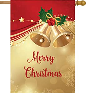 """ShineSnow Merry Christmas Bell Celebrate Happy New Year Holiday Ornament House Flag 28"""" x 40"""" Double Sided, Polyester Welcome Yard Garden Flag Banners for Patio Lawn Outdoor Home Decor"""