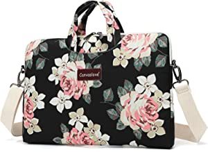 Canvaslove 15 inch White Rose Water Resistant Laptop Shoulder Messenger Bag Sleeve Case for MacBook Pro 16 inch and 15 inch-15.6 inch laptop