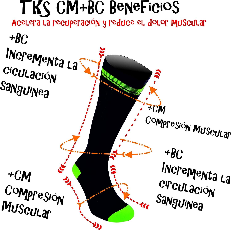 TKS Compresion CALCETIN Largo CELTIBERO, para Running, Triatlon, Ciclismo, Senderismo, Crossfit, TRX, Mejora LA RECUPERACION, para Hombre Y Mujer, ...