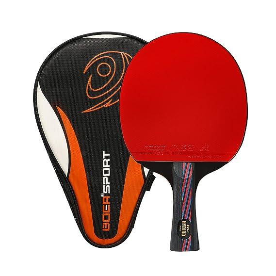 Ancees Pala Ping Pong, Pala de Tenis de Mesa de Carbono con Funda Raqueta de Ping Pong Gomas ITTF (Madera de 7 Capas y Carbono de 2 Capas): Amazon.es: ...