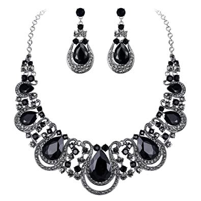 BriLove Women's Costume Fashion Crystal Teardrop Hollow Scroll Statement  Necklace Dangle Earrings Set