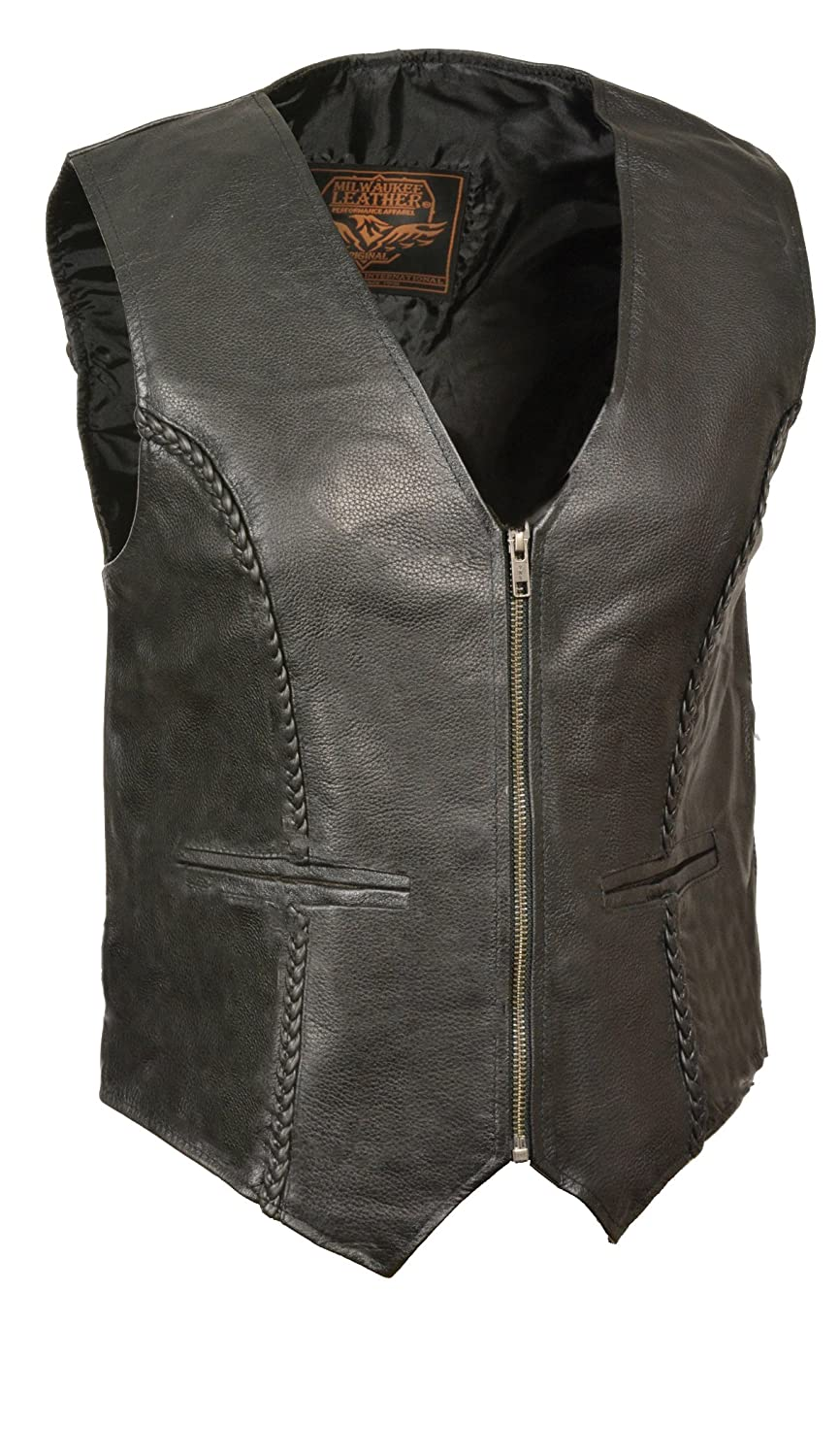 Black, 3X-Large Milwaukee Leather Womens Zipper Front Braided Vest