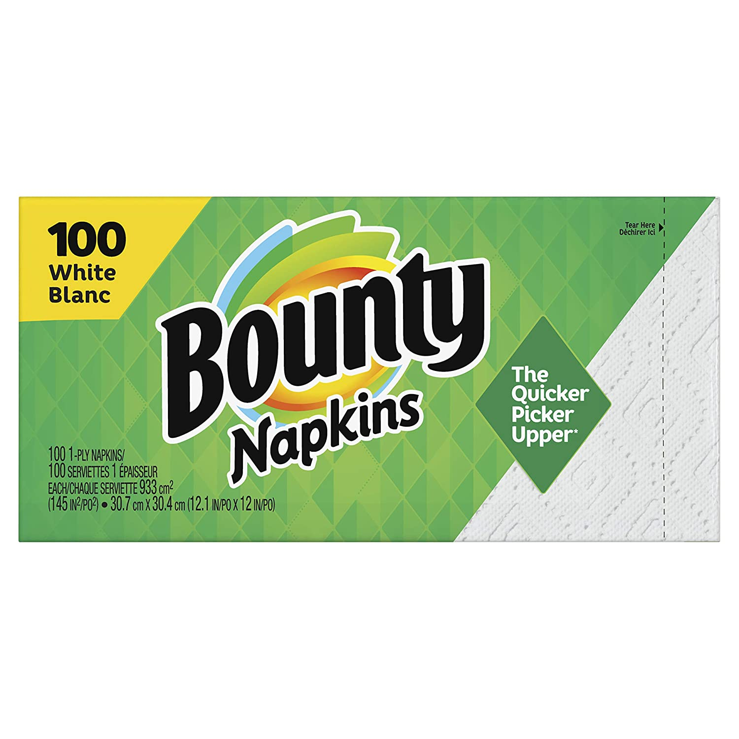 Bounty Quilted Napkins, 1-Ply, 12.1In X 12In, 100/PK, White