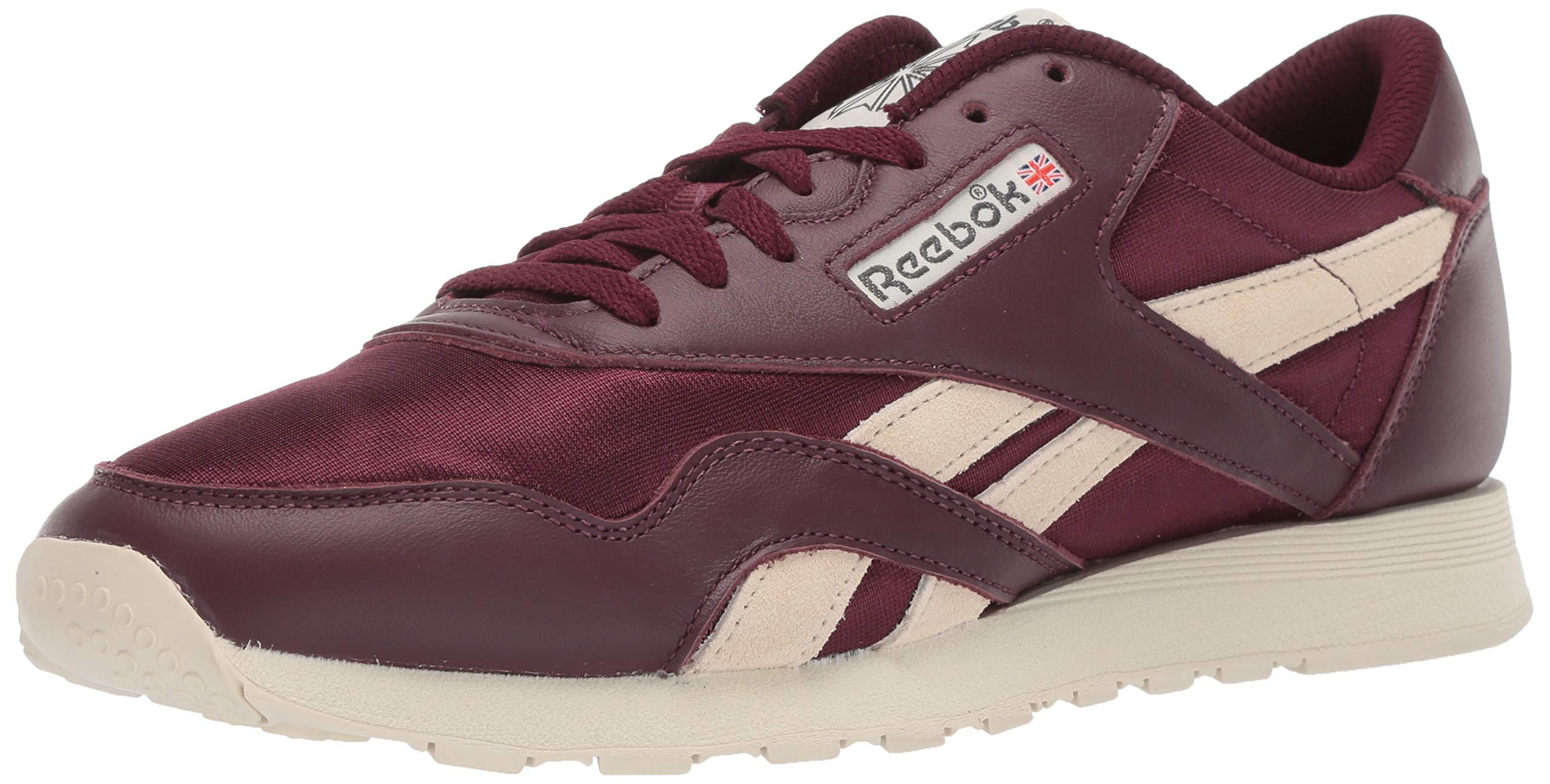 Reebok Men's Classic Nylon Sneaker, Maroon/Paper White/True Grey, 4.5 M US by Reebok
