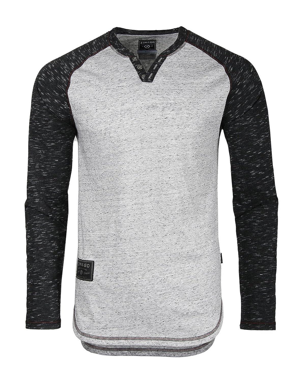 Zimego Long Sleeve Semi Elongated Raglan Henley Tall Longline T Shirt ZELS353-Black
