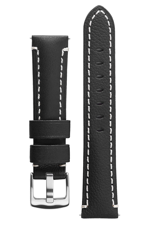 署名CaptainカーフスキンWatchバンドAnti Scratchレザー時計ストラップブレスレット 22 mm ブラック 22 mm|ブラック ブラック 22 mm B01LXIDXT6