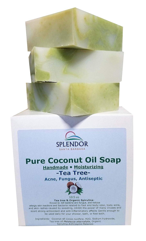 Tea Tree Coconut Oil Soap Bars with ORGANIC SPIRULINA  Handmade, Vegan,  Natural,